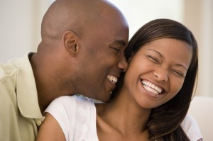 guy makes girl laugh.  11-14